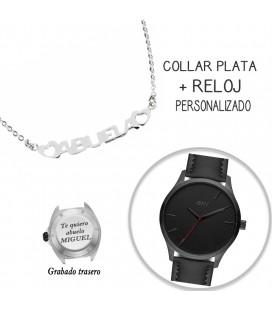 Collar plata + reloj personalizado