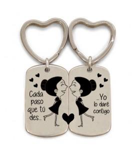 Pack 2 llaveros anilla corazón  - CADA PASO QUE TU DES - GAYS CHICAS