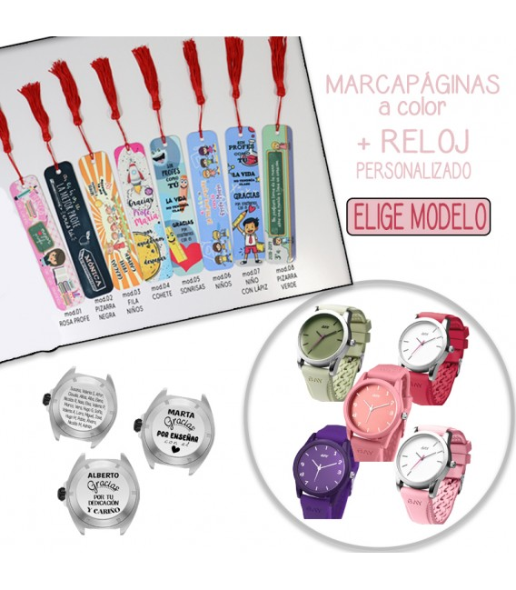 Pack MARCAPÁGINAS COLOR + RELOJ PERSONALIZADO