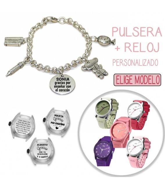 Pack PULSERA CHARMS PROFESORA + RELOJ