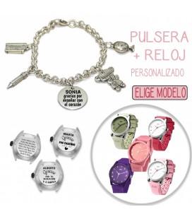 Pack PULSERA CHARMS PROFESORA + RELOJ PERSONALIZADO
