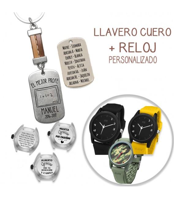 Pack LAVERO CUERO COSIDO MARRÓN + RELOJ RAY BROWN