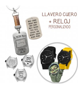 Pack LAVERO CUERO COSIDO MARRÓN + RELOJ RAY BROWN