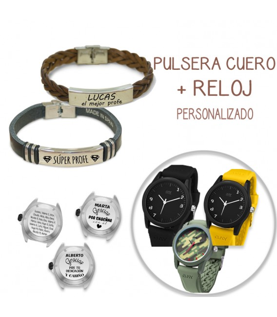 Pack PULSERA CUERO TRENZADO MARRÓN + RELOJ MILITARY
