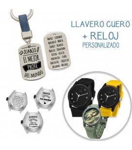 Pack LLAVERO CUERO AZUL + RELOJ PERSONALIZADO