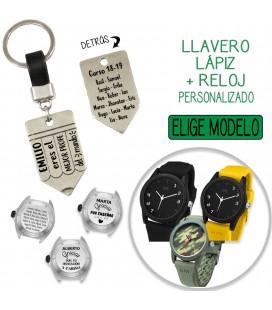 Pack LLAVERO CUERO LÁPIZ + RELOJ PERSONALIZADO
