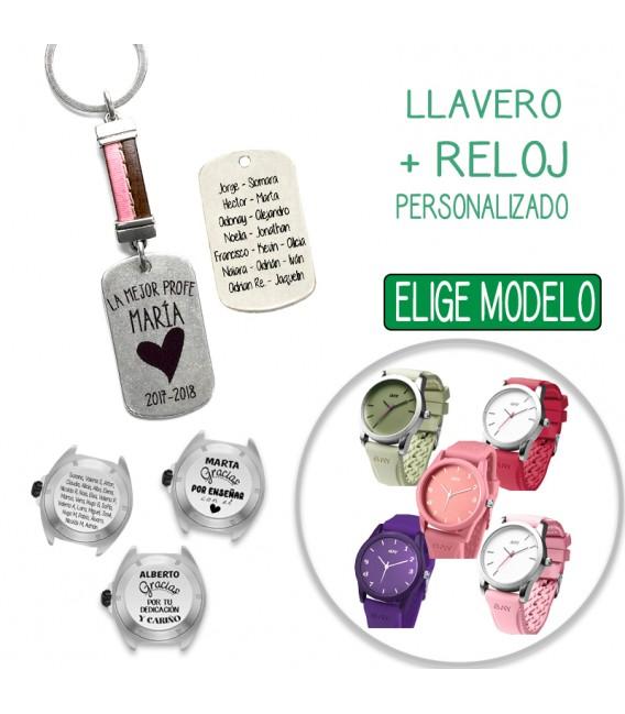 Pack LLAVERO CUERO COSIDO ROSA + RELOJ PERSONALIZADO