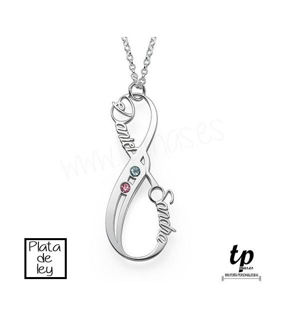 ee8ff8de10cc Collar infinito vertical con piedras Swarovski- PLATA DE LEY 925