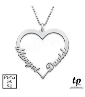 Collar corazón con nombres - PLATA DE LEY 925
