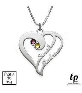 Collar corazones unidos con piedras - PLATA DE LEY 925