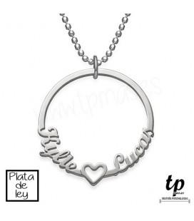 Collar circular con nombres - PLATA DE LEY 925