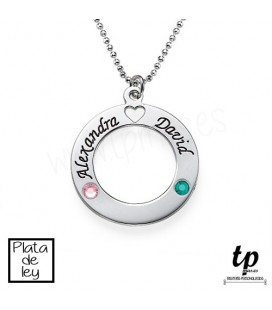 Collar círculo con piedras Swarovski - PLATA DE LEY 925