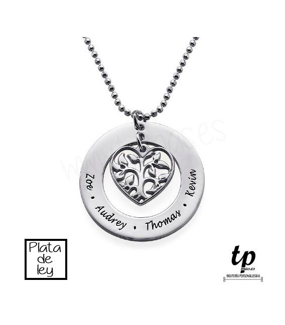 8b9b716b1a5a Collar árbol de la vida familia corazón - PLATA DE LEY 925