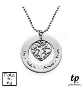 Collar árbol de la vida familia corazón - PLATA DE LEY 925