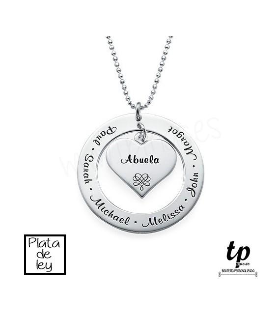 f79d3a77792a Collar abuela aro con corazón - PLATA DE LEY 925