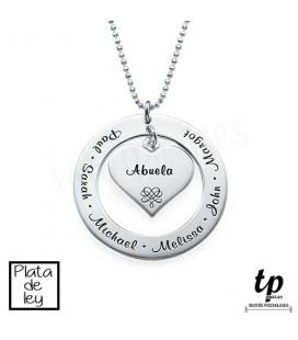 f05dfa14308c Collar abuela aro con corazón - PLATA DE LEY 925