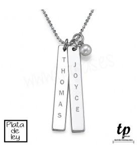 Collar barra vertical - PLATA DE LEY 925