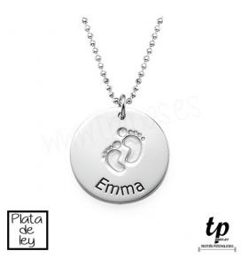 Collar huellas bebé - PLATA DE LEY 925