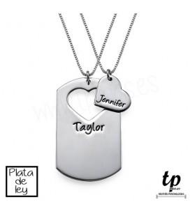 9d3da7fe2f4d Collar pareja placa y corazón - PLATA DE LEY 925
