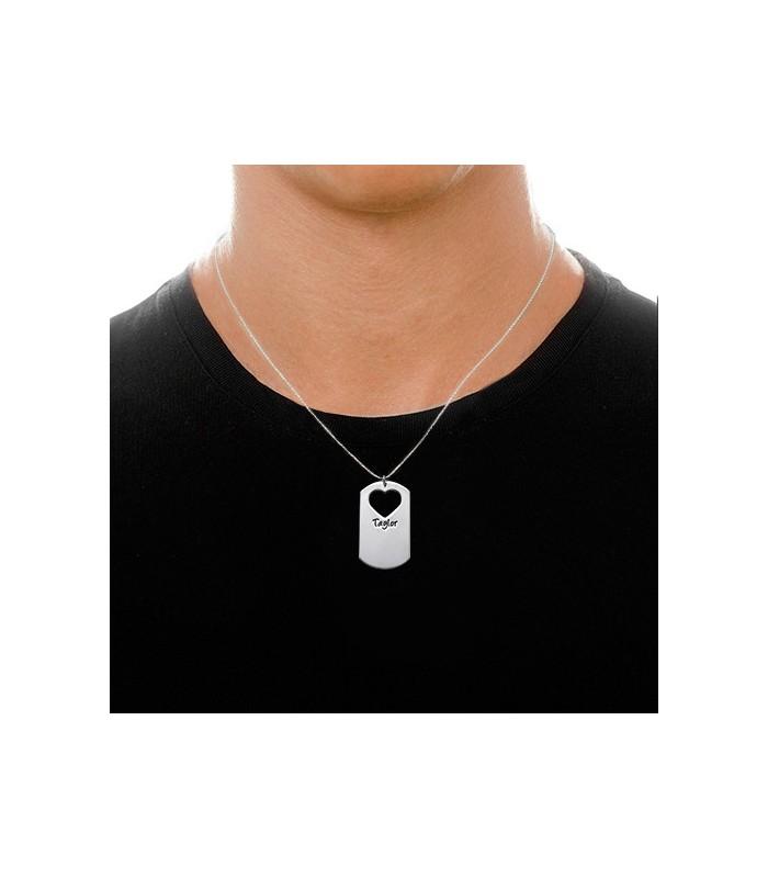 af4d10ccbf1d PACK 2 Collares pareja placa y corazón - PLATA DE LEY 925