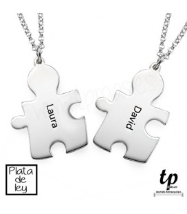 PACK 2 Collares pareja puzzle - PLATA DE LEY 925