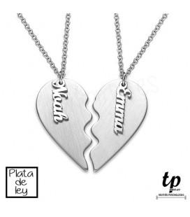 PACK 2 Collares corazón con nombre - PLATA DE LEY 925