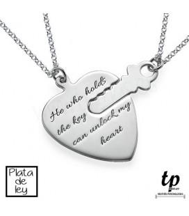 PACK 2 Collares corazón con llave - PLATA DE LEY 925