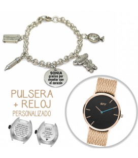 Pack PULSERA CHARMS PROFESORA + RELOJ PEAK ROSE GOLD
